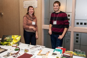 Student affair committee members (Chandra Moffat and Paul Abram) manning the silent auction at the last ESC annual meeting. Photo credit: Adrian Thysse
