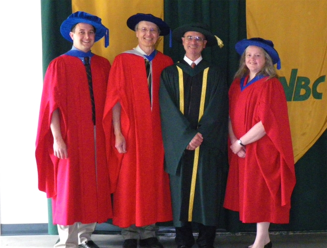 A successful supervisor-student relationship can turn into a lifetime relationship: Staffan Lindgren (PhD 1982), Lisa Poirier(PhD 1995) and Dezene Huber (PhD 2001), gave back to their supervisor John H. Borden by successfully nominating him for an honorary doctorate at UNBC in 2009 in recognition of his enormous impact on forest insect pest management in British Columbia. Photo by Edna Borden.