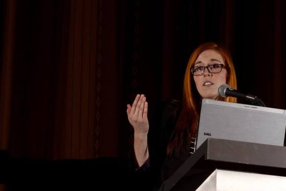 The author's graduate student, Holly Caravan, captured in mid-presentation at the ESCJAM 2015 in Montreal. Holly was selected to present in the Graduate Student Showcase. (photo by Sean McCann)